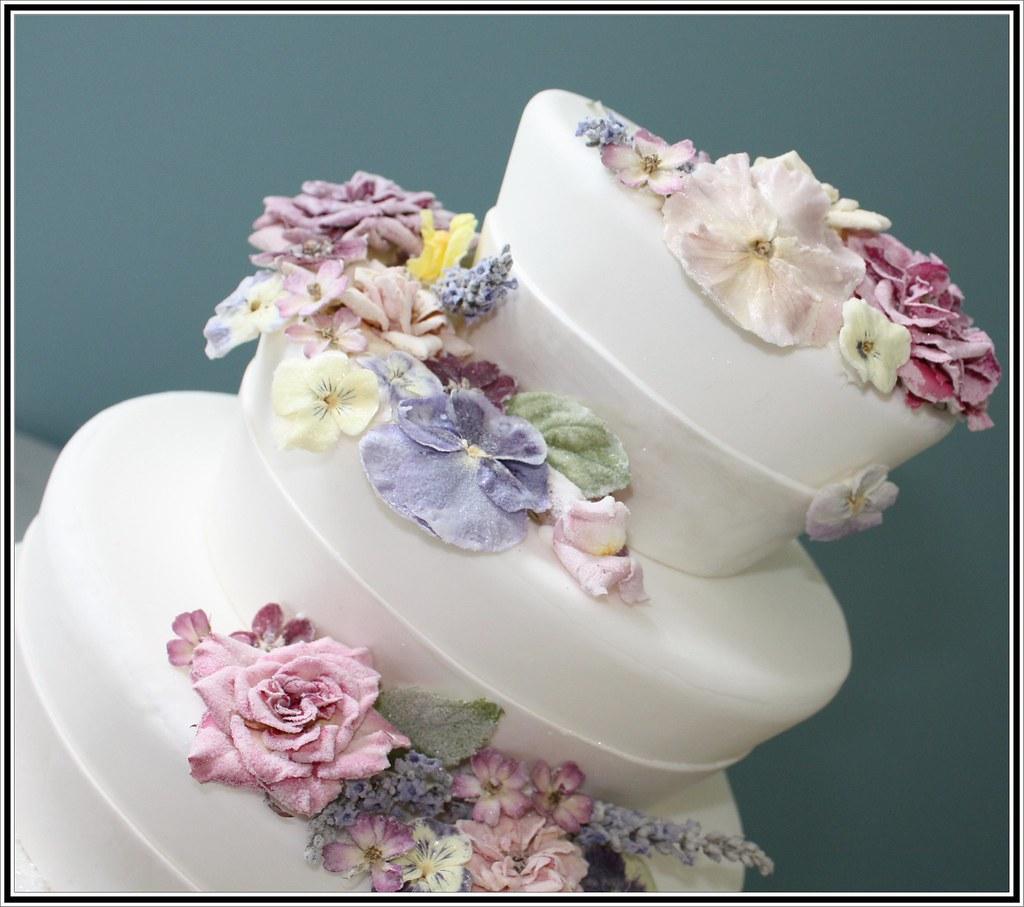 crystallized flowers wedding cake NJ NJ Custom Wedding Cak Flickr
