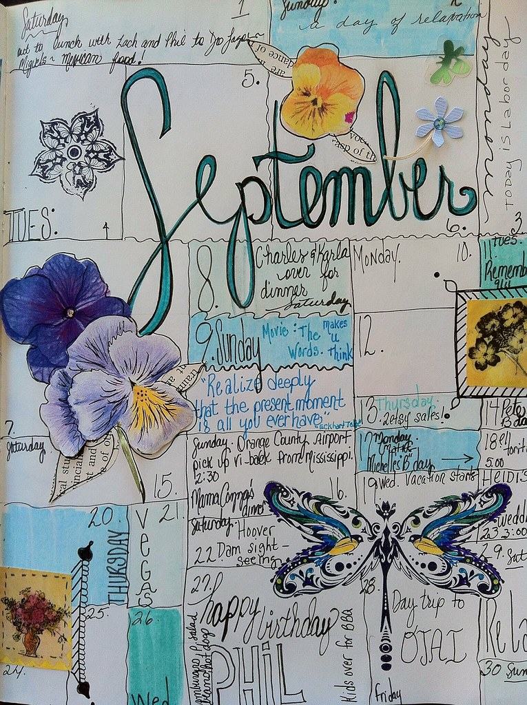 Art Journal Calendar Pages : Calendar journal september daily