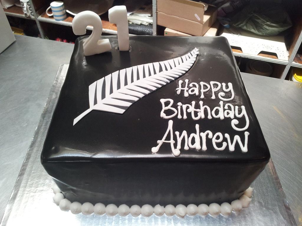 Black And White Birthday Cake For Him