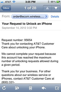 "AT&T, you denied 2 of my 3 out-of-contract iPhone unlock requests. I hope this ""given period"" is only a few days 