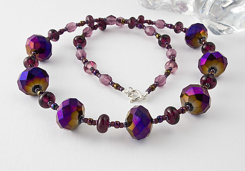 Puprl Lampwork and Fire Polished Glass Necklace | by Ciel Creations