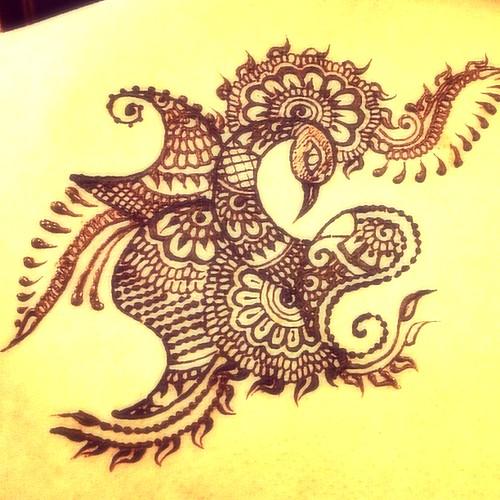 Mehndi Henna Design With Peacock Motif : Peacock henna design this was fun to draw sowmya ranganathan flickr