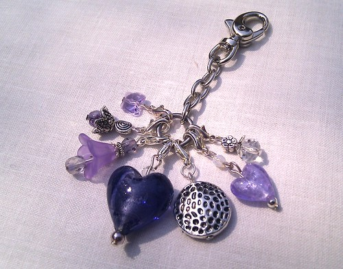 Purple Lucite Glass Flower Heart Swarovski Charm Keyring | by Weebs Jewellery & Accessories