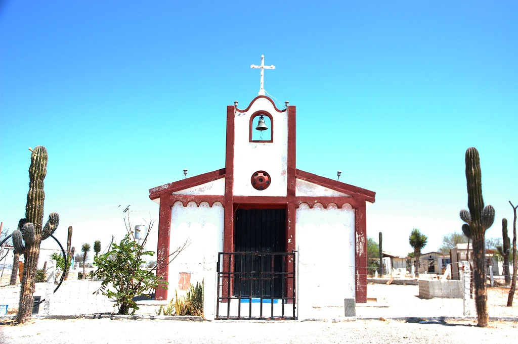 Rural Mexican Church White With Red Trim Gate Adobe Be