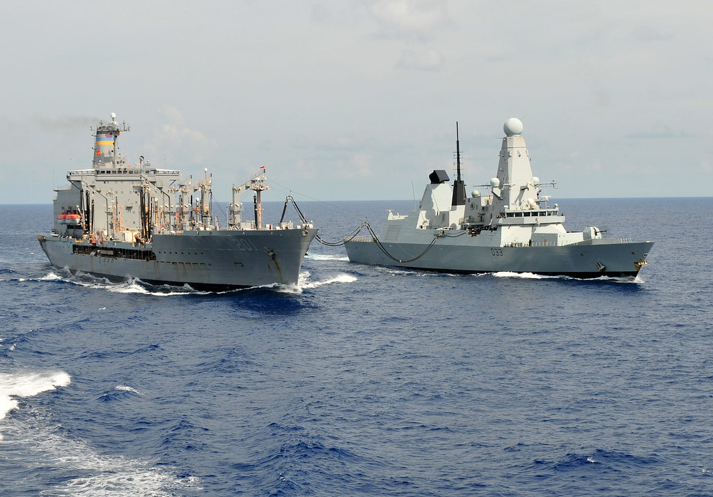 Replenishment Caribbean: Royal Navy Ship Conducts Replenishment At Sea.