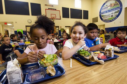 Students at Yorkshire Elementary School (Va.) enjoying healthy school meals