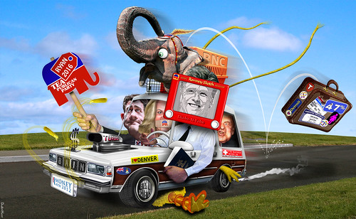 Mitt Mobile running over Big Bird on way out of Denver | by DonkeyHotey
