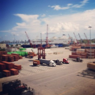 Miniature trucks at the port of Palm Beach | by veronikaa