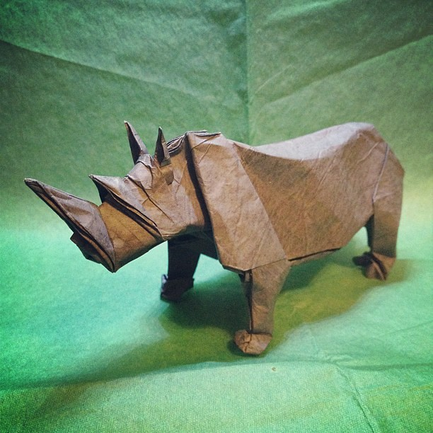 Origami Rhino Designed By Sipho Mabona Folded From Cp Flickr