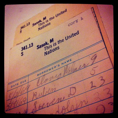 Purchased an ex library copy of M. Sasek's This is the United Nations today. The best part is the due date card, with one Clovis Wilmer being the first to check it out. Due 5/2/1969. | by tweedlebop