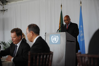 South African president Jacob Zuma highlights his country's efforts to increase women's participation in all levels of the justice chain during the High-level Lunch Event on Strengthening Women's Access to Justice | by UN Women Gallery