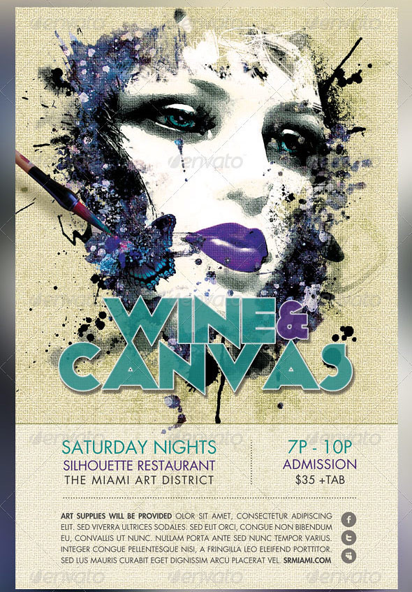 wine and canvas art event flyer template