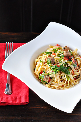 Sausage, Red Pepper & Arugula Pasta | by Courtney | Cook Like a Champion