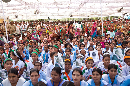 Nearly 5,000 men and women gathered to promote the rights of girls and education for all during UN Women Executive Director Michelle Bachelet's visit to the gram sabha in Barrod village of Rajasthan's Alwar district on 5 October | by UN Women Gallery