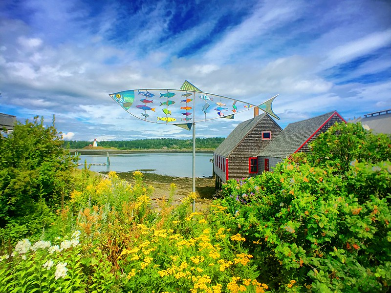 two degrees of separation in space and time while photographing public art in lubec maine.