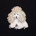 Tiny White Miniature Beaded Poodle Pin/ Pendant