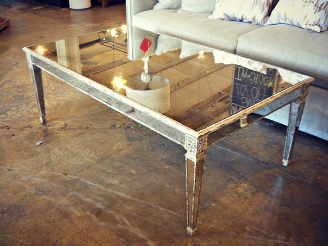 Mirror antique wood coffee table flickr photo sharing for Mirror and wood coffee table