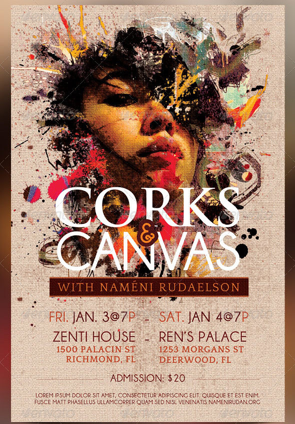 Corks And Canvas Art Event Flyer Template
