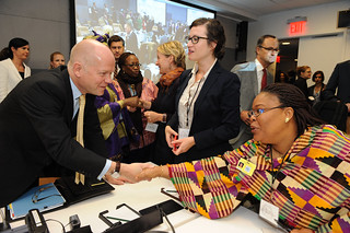 "UK Foreign Secretary William Hague welcomes Nobel Peace Laureate Leymah Gbowee at the high-level event ""Preventing Sexual Violence and Gender-based Crimes in Conflict and Securing Justice for Survivors"" 