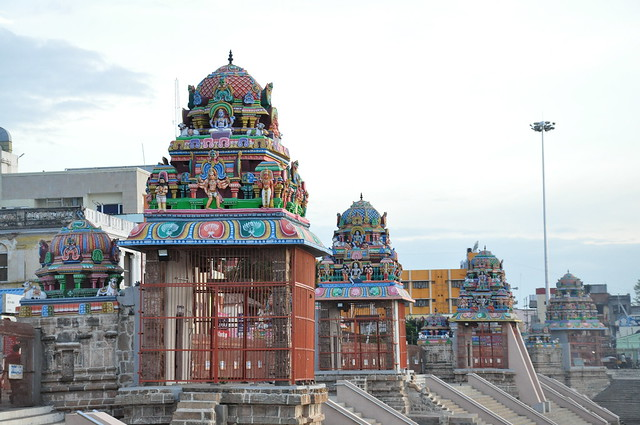 The Mahamaham tank is surrounded by 16 pavilions distributed along its steps. In the recent past, however, the 17th pavilion was added to mark the river Cauvery's sanctity.