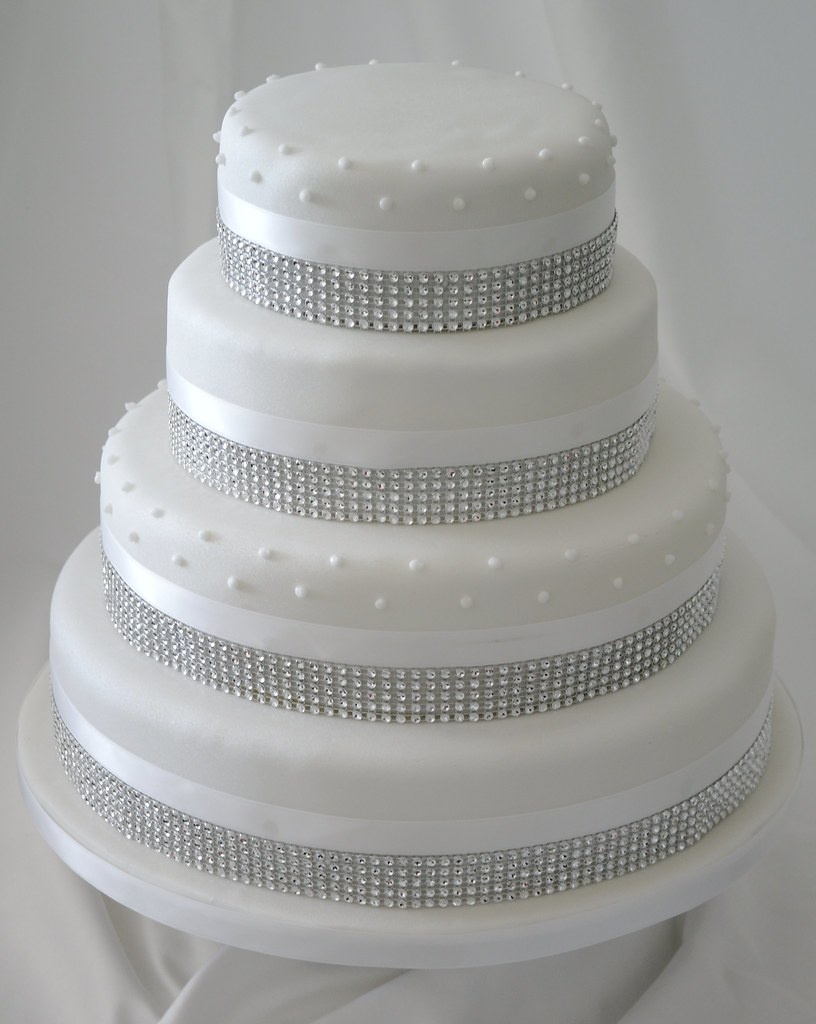 Four Tier Diamante Wedding Cake