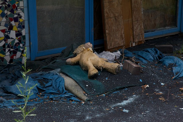dead teddy bear