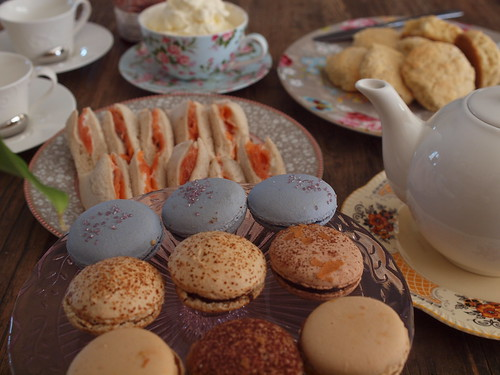 smoked salmon sandwiches, macarons, scones with the works | by retro mummy
