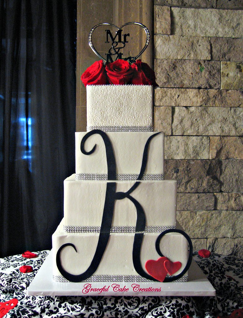 Monogram Wedding Cake Toppers With Swarovski Crystals