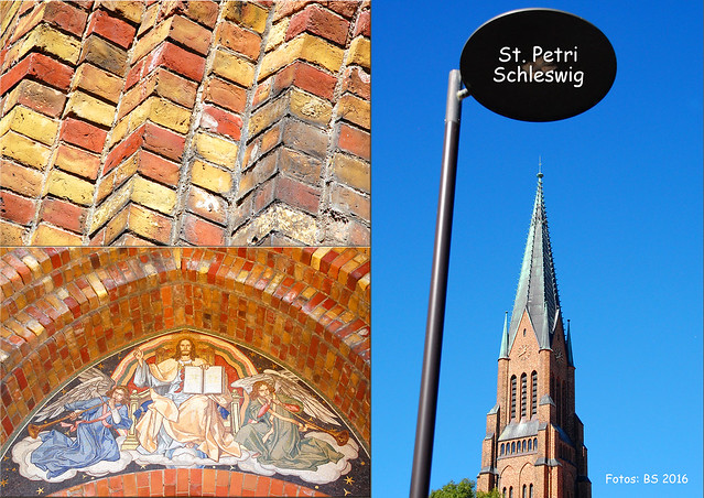 Schleswig - Dom St. Petri - Außenansichten - Backsteinturm - Petri-Portal ... Fotos und Fotocollagen: Brigitte Stolle, September 2016