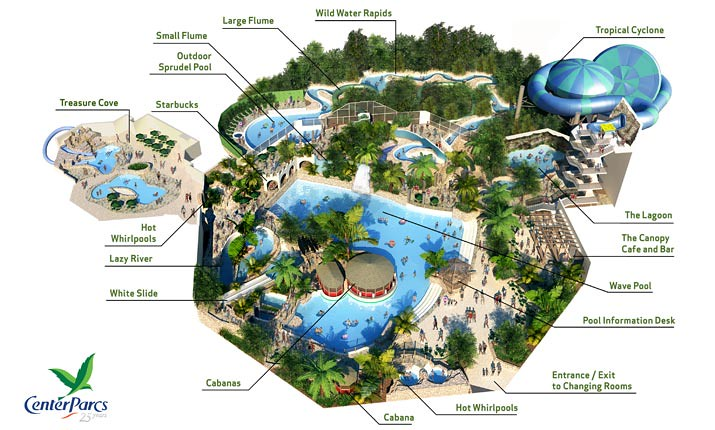 Map Of The Subtropical Swimming Paradise At Elveden Forest