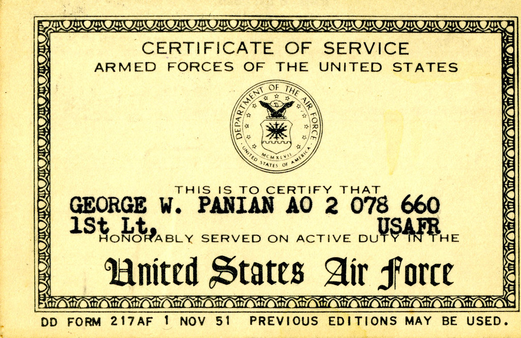 Certificate Of Service | Dd Form 217 Af | Johnnycrabcakes | Flickr