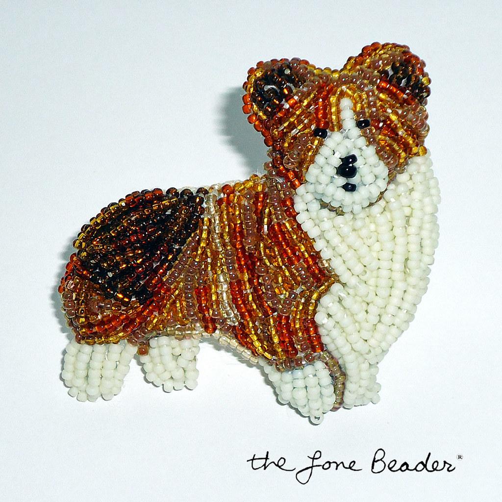 Corgi bead embroidery art pin royal beaded dog jewelry f