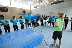 Participants learn skills of including people with a disability