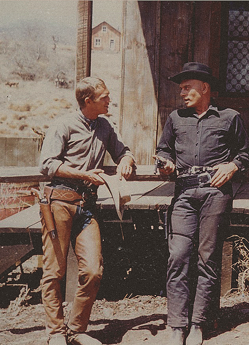 The Magnificent Seven - 1960 - Backstage - Steve McQueen and Yul Brynner