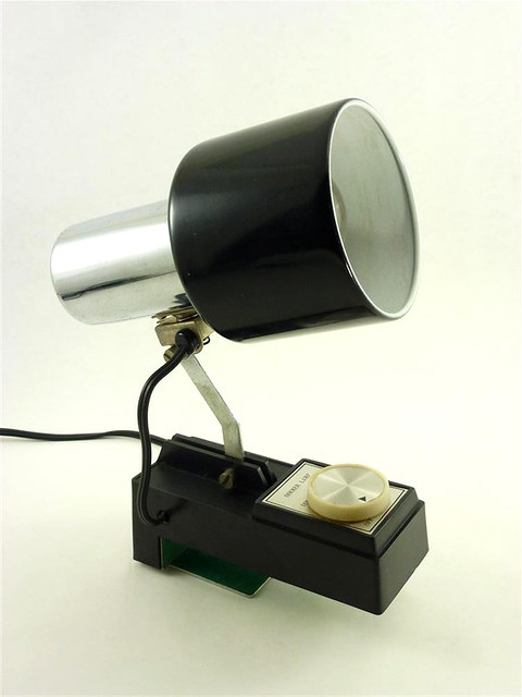 Vintage Black Chrome Metal Lamp Task Headboard Clamp