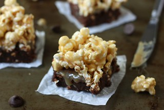 Caramel Popcorn Fudge Brownies | by Completely Delicious