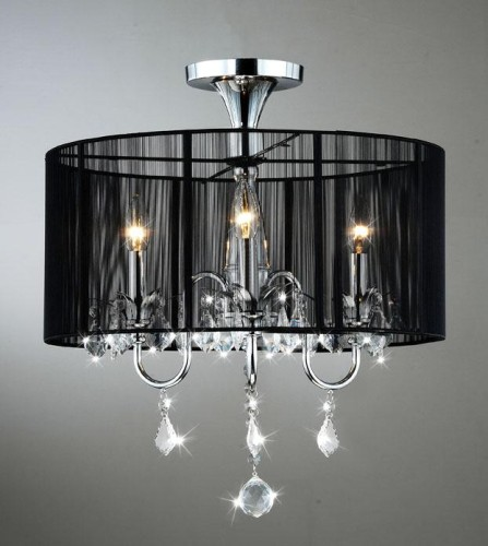 Black Drum Shade 3-Light Crystal Chandelier Lamp | * This be… | Flickr