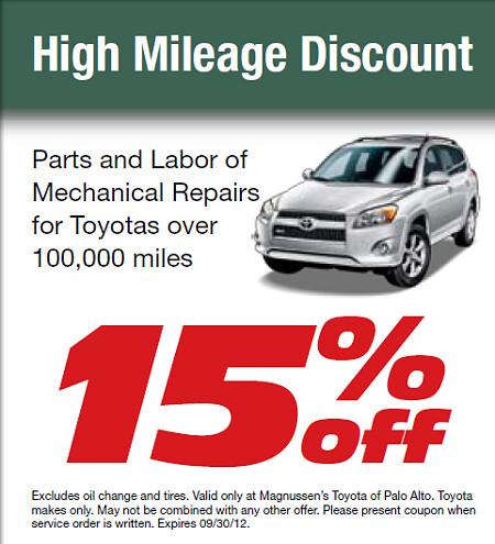 ... Hi Mileage Car Discount   This September 2012 At Toyota Service Center  In Bay Area |