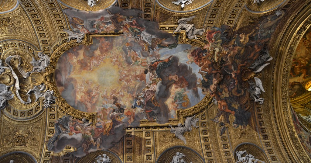 Il Gesu Nave Ceiling Decorations Baroque 16th Cent 3
