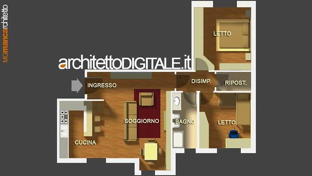 Progetto di interni di un appartamento di 75 mq pianta for Appartamenti interni