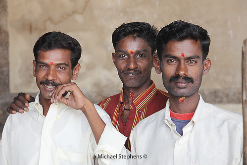 Hindu Groom and two male friends before ceremony, Madurai, Tamil Nadu, India | by Mikey Stephens