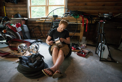 Tyler Assembling Wheels for Paramotor Quad | by goingslowly