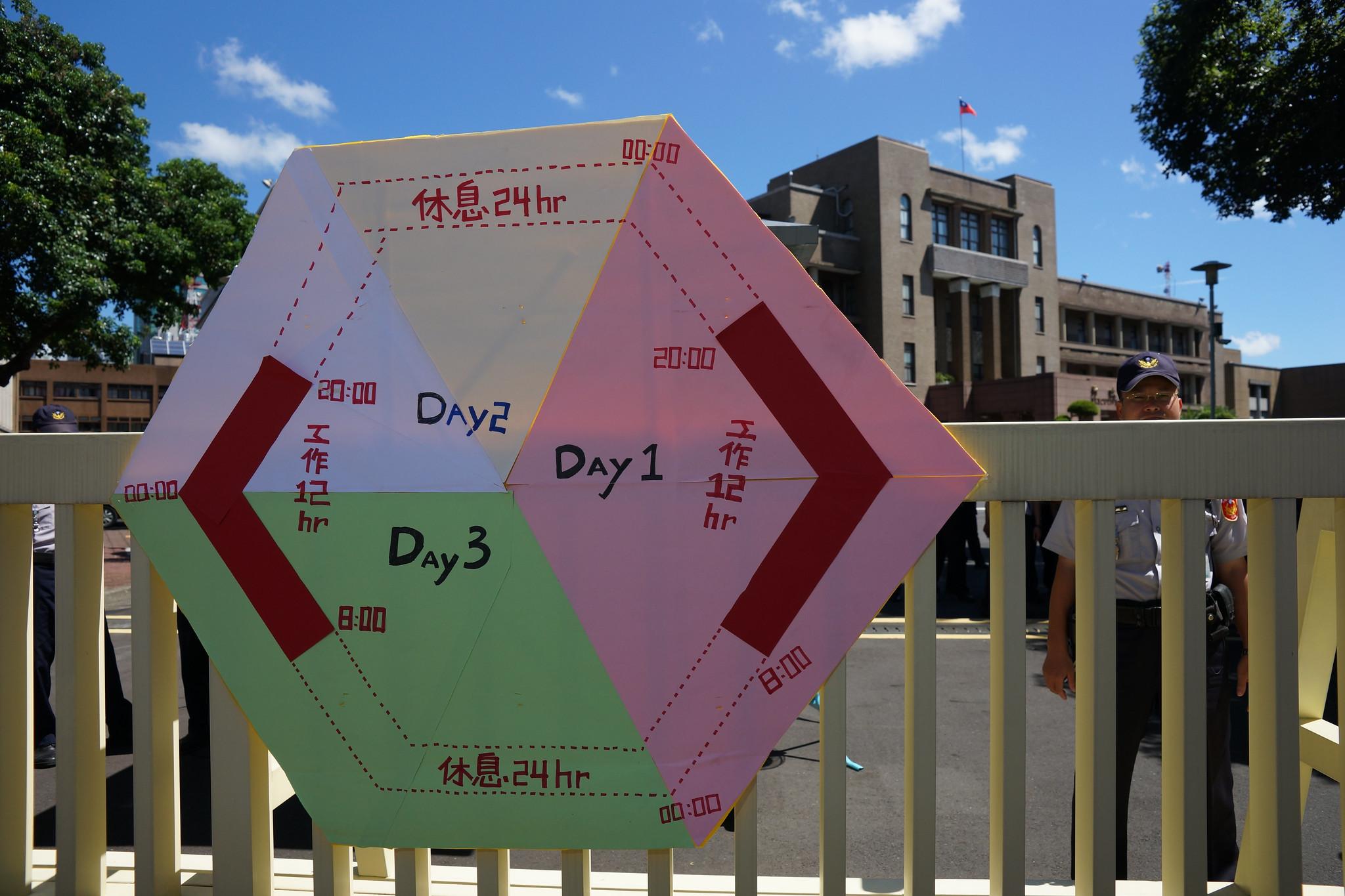 工會將台鐵「日夜休」輪班制示意圖張貼在行政院大門前。(攝影:王顥中)