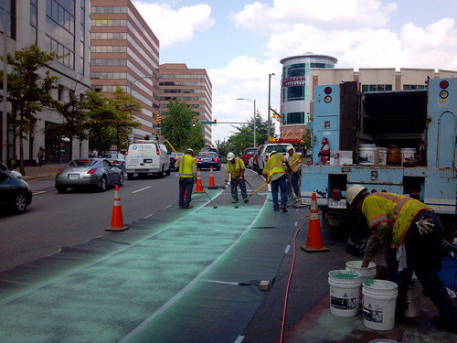 Green bike lane being installed at Clarendon Blvd and 15th St North, in Arlington | by BeyondDC