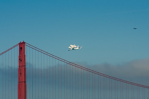 Shuttle Endeavour over the Golden Gate Bridge | by morozgrafix