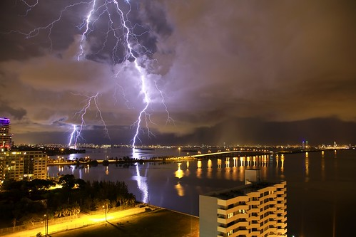 Lightning over the Julia Tuttle Causeway | by __Dori__