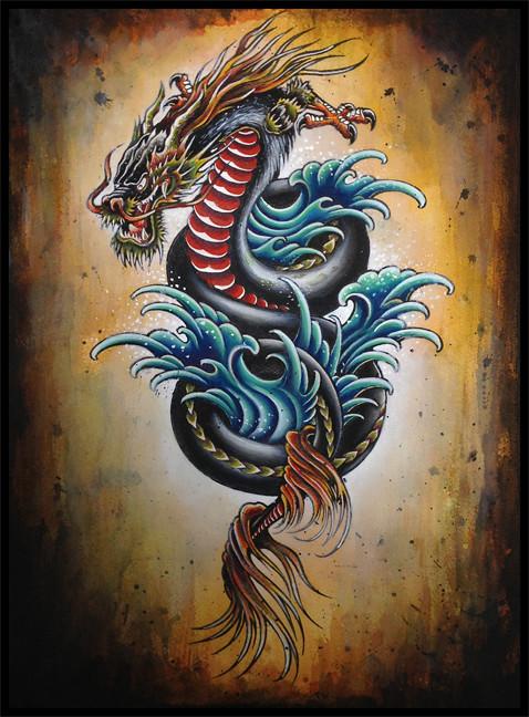 dragon flash painting kyle porter flickr. Black Bedroom Furniture Sets. Home Design Ideas