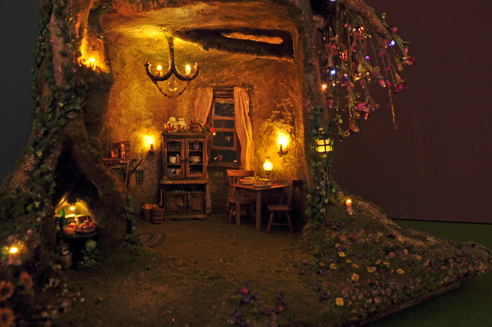 Fairy Tree Trunk House @ Night | My tree trunk house is off ...