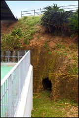 """A WW2 """"SPIDER HOLE"""" -- Another Hand-dug BOMB SHELTER in the LEPER COLONY on OKINAWA"""