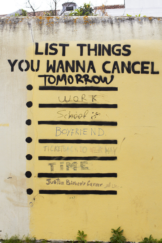 List things you want to cancel found this one at a wall - Things you find on walls ...